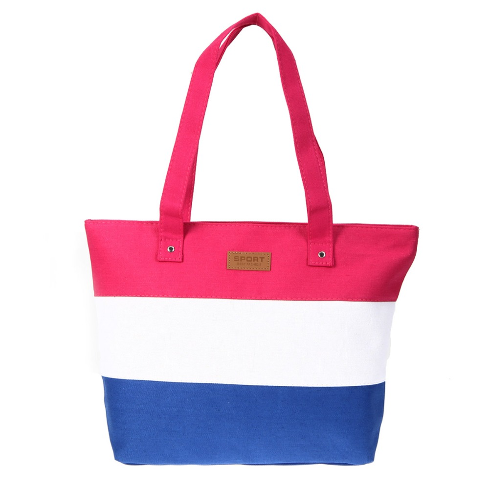 2b69649038fb Women Travel Shopping Bags Summer Beach Big Shoulder Bags Ladies Large  Capacity Canvas Striped Messenger Tote Bag