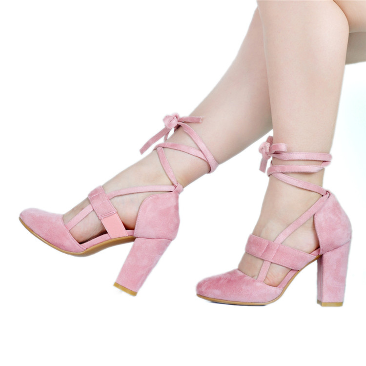 Здесь продается  Classy Pink Rope Style Chunk High Heels Sandals Fancy Women Cross Strap Lace Up Heeled Sandal Booties Sexy Summer Shoes  Обувь