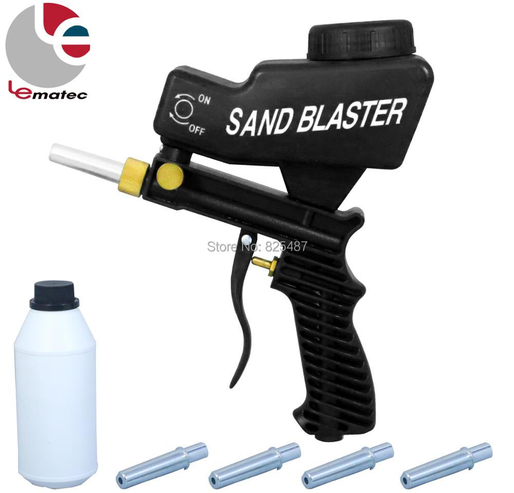 LEMATEC Gravity Feed Sand Blaster Gun With Sand Canned Nozzle Tips Air Blast Tools Kits For