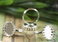 100pcs Lot 15mm Crown Ring Blank With Cameo Tray Silver Plated Ring Bases Setting Handmade DIY