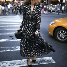 Fashion Women Sexy polka Dot Split dresses ladies Deep V-neck