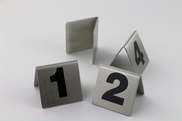 Stainless Double Sides Numerical Seating Sign Stand Desktop - Restaurant table number signs