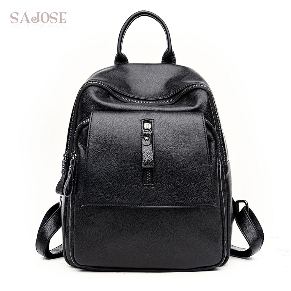 High Quality PU Leather Backpack School Bags For Teenagers Casual Black Backpack Women Mochila Sac A Dos Femme Drop Shipping british style printing vintage backpack female cartoon school bag for teenagers high quality pu leather backpack sac a dos femme