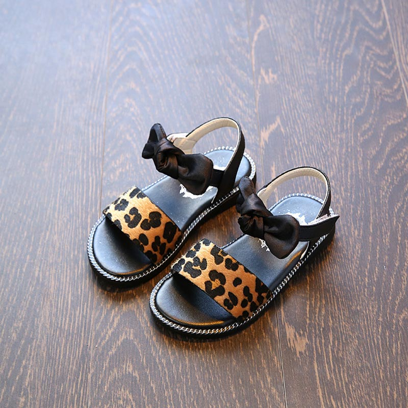 2018 New Children Beach Sandals Fashion Kids Cute Leopard Sandals Antislip Girls Summer Princess Beach Sandals ...