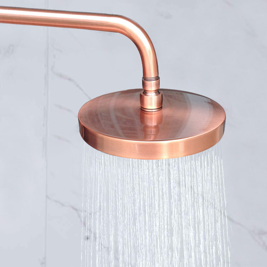 7 7 Inch Round Rainfall Shower Head Rainfall Bathroom Top Sprayer Antique Red Copper Rain Showerhead
