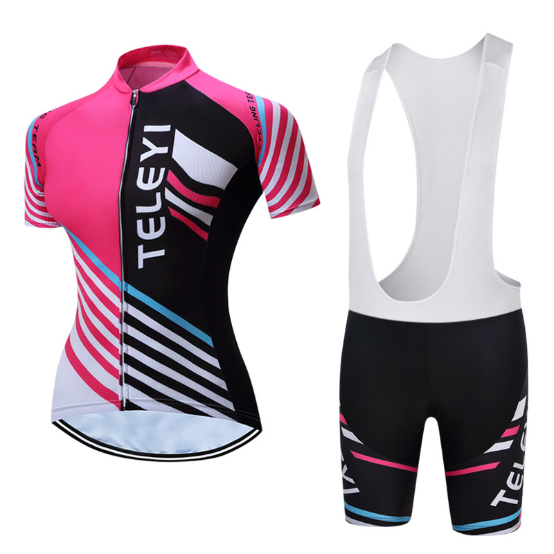 Teleyi Pro Cycling Clothing Women Summer Team Sport Cycling Jersey Set Quick Dry MTB Bike Jersey Set Anti-sweat Bicycle Clothes