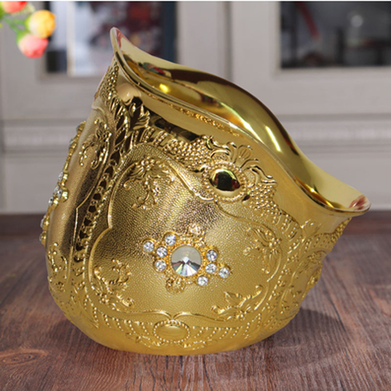 New Deluxe Metal Bowl Gold Color Decoration Bowl for Living Room Art Craft loft furnish Gift Display Correction Zinc Alloy BowlNew Deluxe Metal Bowl Gold Color Decoration Bowl for Living Room Art Craft loft furnish Gift Display Correction Zinc Alloy Bowl