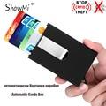 ShowMi Mulheres Homens Automático Tampa Da Caixa de Cartão Cartão de Identificação Do Negócio Titular do Cartão de crédito Caixa de Cartão de Couro Clipe De Dinheiro de Metal Rfid carteira