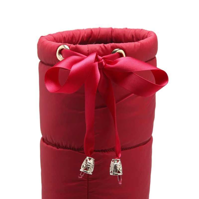 MORAZORA Yeni gelmesi 2019 moda diz yüksek kadın kar botları siyah kırmızı renk sıcak aşağı kış çizmeler bayanlar kalın kürk botas