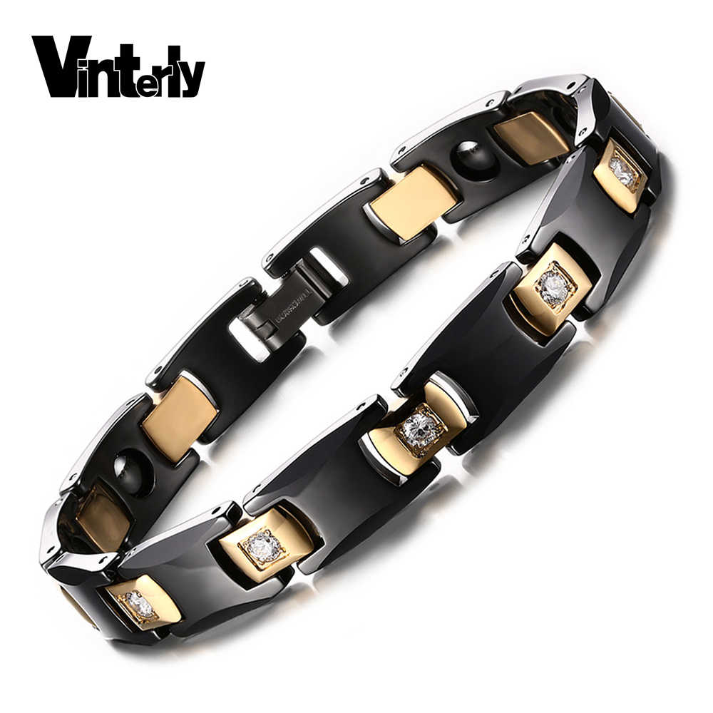 Vinterly Black Ceramic Bracelet for Women Chain Link Healing Energy Magnetic Hematite Crystals Gold-color Bracelets & Bangles