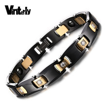 Vinterly Black Ceramic Bracelet for Women Chain Link Healing Energy Magnetic Hematite Crystals Gold-color Bracelets & Bangles(China)