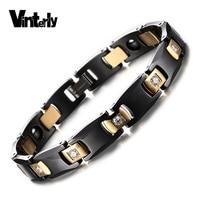 Gold Plated Black Ceramic Bracelets Health Energy Magnetic Hematite CZ Diamond Bracelet Stainless Steel Clasps Jewelry