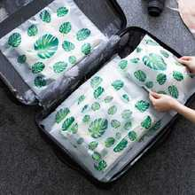 Creative Leaf Pattern Transparent Makeup Bag Pouch Women Cosmetic Bag Multifunction Travel Bath Storage Sealed Toiletry Kit