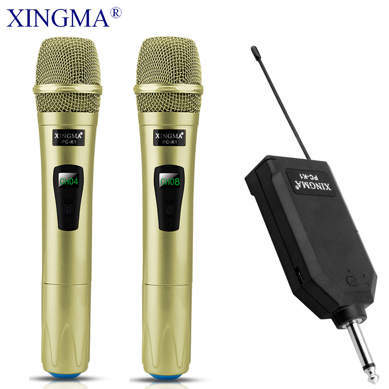 XINGMA PC-K1 Karaoke Microphone Wireless Professional Handheld Dynamic 2 Channels Studio Dual VHF Mic For Computer System KTV PC
