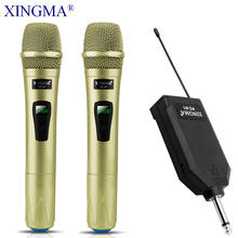 цена на XINGMA PC-K1 Karaoke Microphone Wireless Professional Handheld Dynamic 2 Channels Studio Dual VHF Mic For Computer System KTV PC