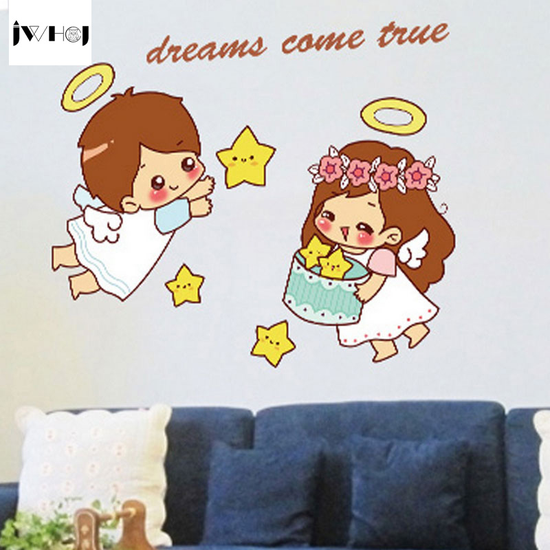 Jwhcj New Removable Cartoon Small Angel Lovers Switch Kitchen Bathroom Glass Stickers Wall Stickers Diy Home Decor Stickers