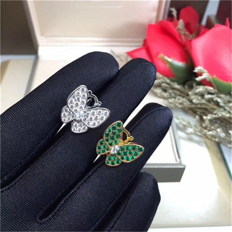 Hot marque 2 papillon femmes Stud boucle d'oreille avec Clip retour en 100% réel 925 Sterling argent ensemble rose/jaune/blanc/vert pierre cadeaux