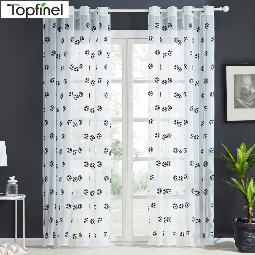 Brand New Football Pattern Window Tulle Embroidered Sheer Tirai Dapur Pintu Pintu Tiruan Benang Tirai Hitam dan Putih