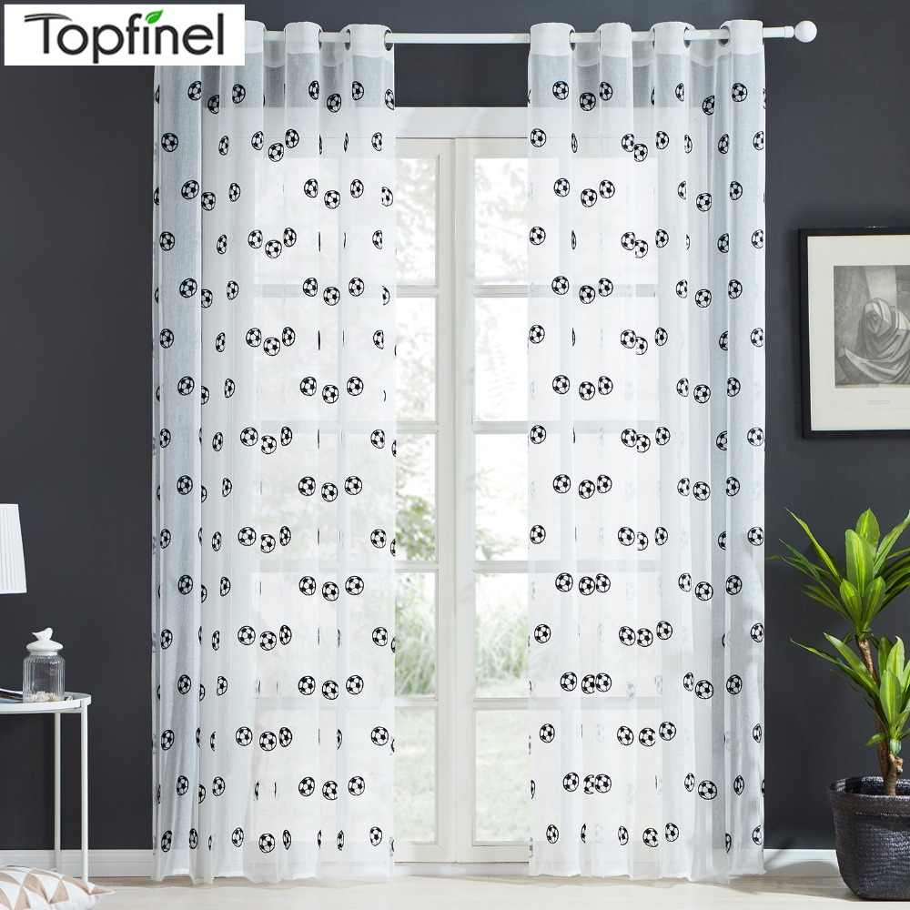 Brand New Football Pattern Window Tulle Embroidered Sheer Curtains Kitchen Door Curtains Decorative Yarn Curtain Black and White