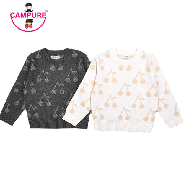 Los Bebés de los Suéteres de Otoño Niños Suéter de Las Muchachas Niños ropa de Abrigo Ropa Infantil Lindo Brillante Cereza Bebé de Punto Suéteres de Las Muchachas