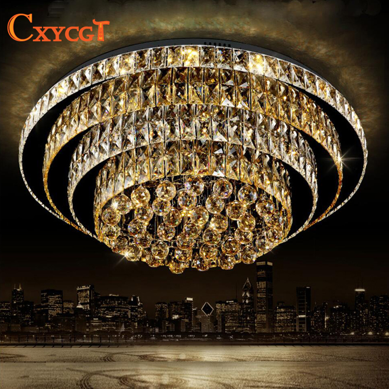 K9 LED Crystal Ceiling Light With Remote Control For Living Room Modern Lampada de teto For Hotel AC110V~240V noosion modern led ceiling lamp for bedroom room black and white color with crystal plafon techo iluminacion lustre de plafond
