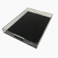Customize Acrylic Breakfast Tray Tea And Coffee Table Tray Clear Lucite Serving Tray With Handles Black Bottom