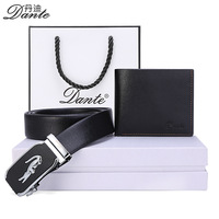 Dante Brand Genuine Cow Leather Wallet + Belt Set Mens Gift Fashion Luxury Male Purse And Waistband Best resent For Your Man