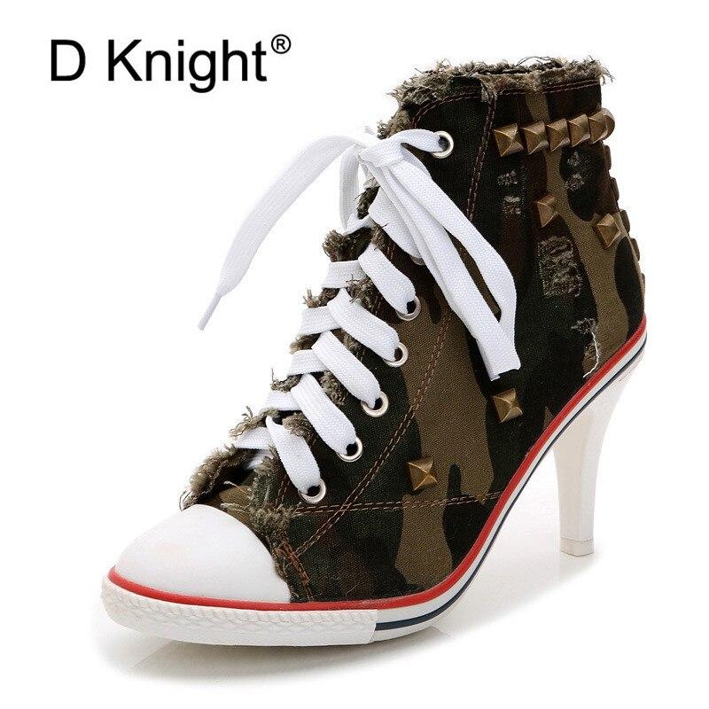 2018 haut toile chaussures 8.5 cm talon bottines à lacets haut talon chaussures Femme décontractées Rivet Demin Chaussure Femme - 3