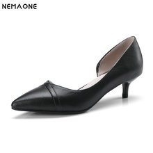 NEMAONE Women's OL shoes handmade fashion genuine leather Single high heels pointy shoes Ladies Pumps