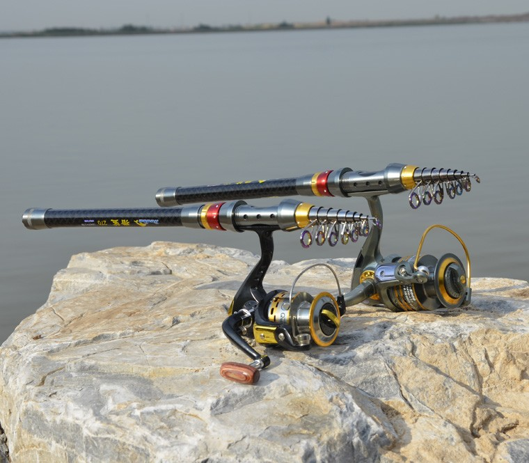 2014 new Carbon sea rod superhard Telescopic Fishing Rod Carbon 1.8-3.6M fishing Rod Spinning free shipping1121