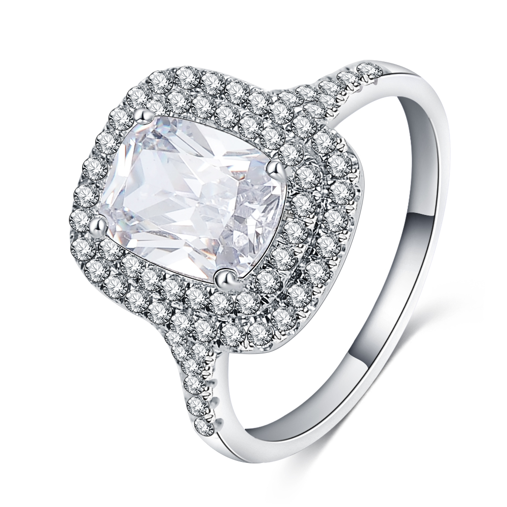 2017 New Women Rings With Full Cz Stones Jewelry Square Crystal Romantic  Engagement Ring Accessories Para