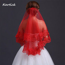 Weddings Events - Wedding Accessories - 2016 Brand New Bridal Veils With Appliqued Edge White/Ivory/Red Short Wedding Accessories Elegant Princess Wedding Veils