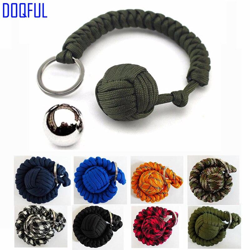 100pcs/lot Tactical EDC Steel Ball Umbrella Rope Keychains Self Defense Handmade Paracord Key Ring Parachute Cord Survival
