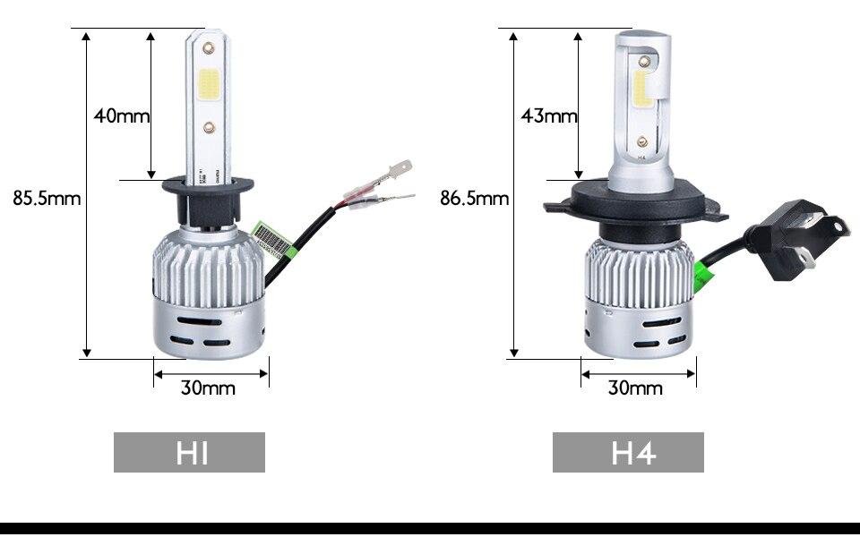 Aceersun H4 LED H7 H1 H11 H8 H9 9005 HB3 HB4 9006 Mini Car headlight 72W 8000LM COB 3000K 4300K 6500K 8000K Hi Lo Beam 12V 24V (15)