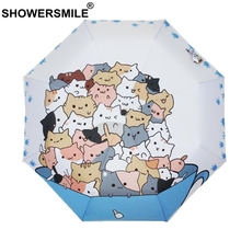 SHOWERSMILE Umbrella With Cats Animal Painting Japanese Silver Coating parasol Ladies Folding Cartoon Novelty Umbrellas