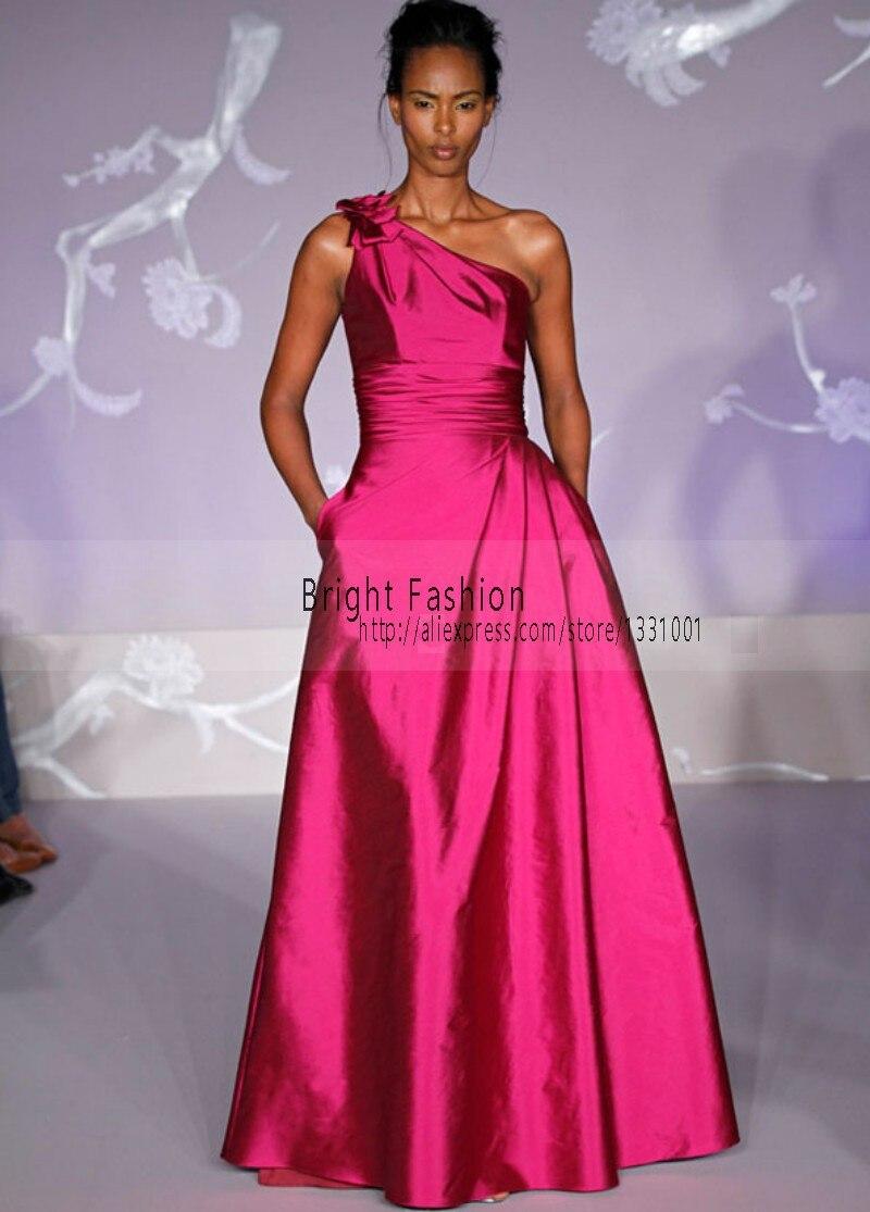 Increíble Vestido De La Dama De Honor De Un Hombro De Color Rosa ...
