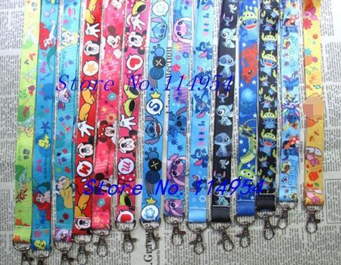 50 pcs Wholesale lot Cartoon minnie stitch Necklace Strap Lanyards Cell Phone PDA Key ID Strap