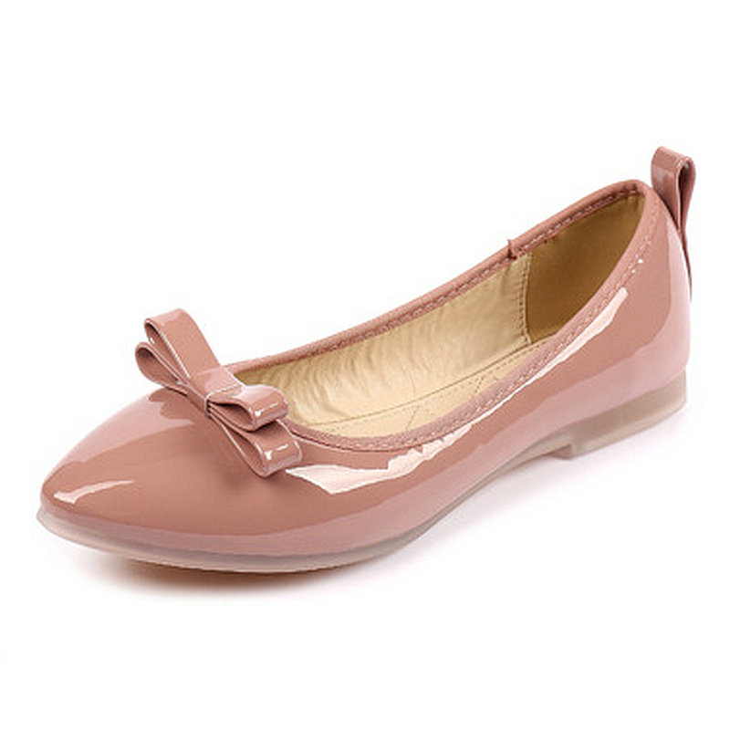 New Arrived Korean Ladies Shoes Flats Pink Patent Leather Casual Shoes Pointed Toe Brand Loafers Shoes