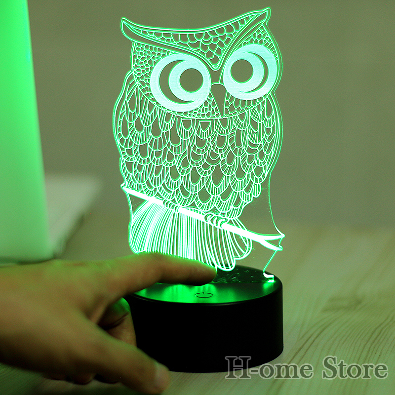 7 Color Owl Lamp 3D Visual Led Night Lights for Kids Touch USB Table ...
