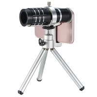 Portable 12X Zoom Telescope Phone Camera Lens Telephoto Kit Mini Tripod With Houlder Clip Universal For