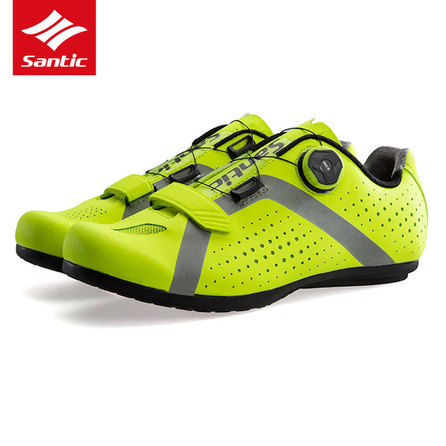 d98755a0b1c Santic Men Cycling Shoes Professional Rubber Anti-slip MTB Road Bike Shoes  Reflective Breathable Sport Bicycle Unlocked Shoes