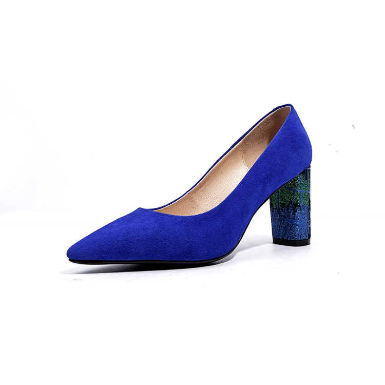 Chaussures Chunky Pointu 4 Belle Noir Ef09831 5 Plus Bout Bleu Femmes Femme L'intention 10 Nous ef09832 Sexy Talons Initiale Suede Super Pompes Taille vcqqpOPwA