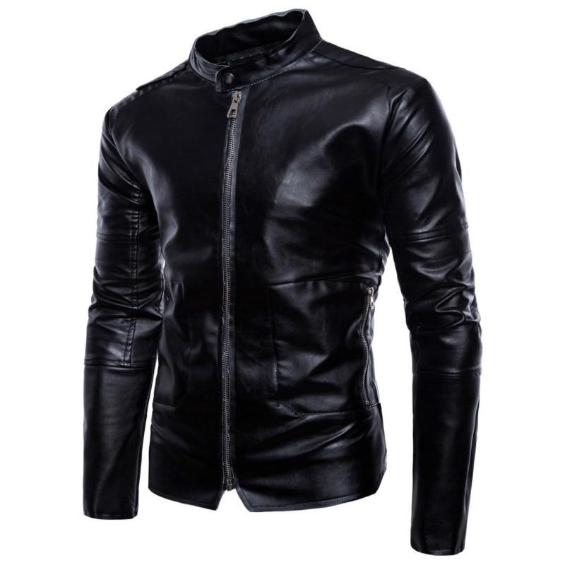 PU Men Man Motor Moto Leather Jackets Mens Coat Jacket Brand Fashion And Coats Trendy Slim Fit Motorcycle Jacket Male