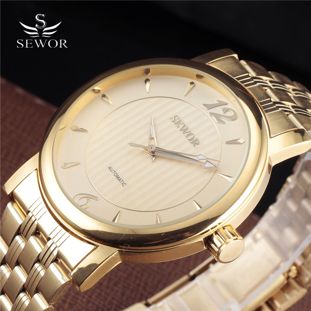SEWOR Gold Men Dress Watches Top Brand Luxury Relogio Male Large Dial Clock Casual Watch Montre Homme Mechanical Skeleton Watch