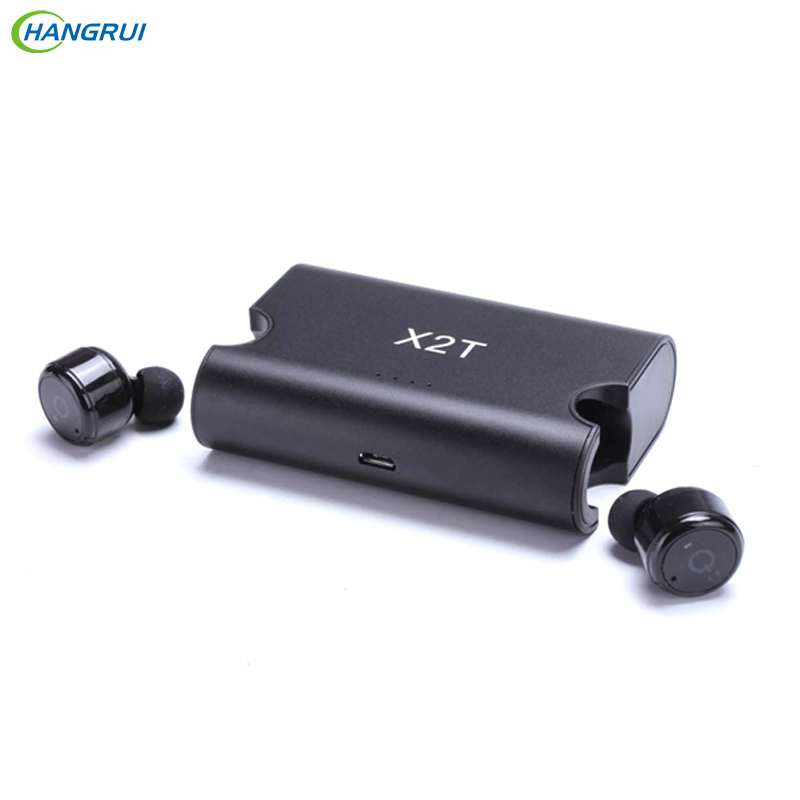 HANGRUI X2T Mini bluetooth earphone CSR V4.2 Wireless headset Twins Sport Earbuds with charger box For iphone  xiaomi smartphone bluetooth earphone earbuds with car charger 2 in 1 driver mini wireless bluetooth headset earphone for iphone android smartphone