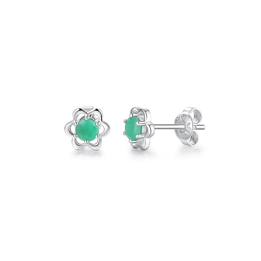 все цены на PJC Natural Gemstone 0.48ctw Round Shape Emerald Flowers 925 Sterling Silver Stud Earrings онлайн