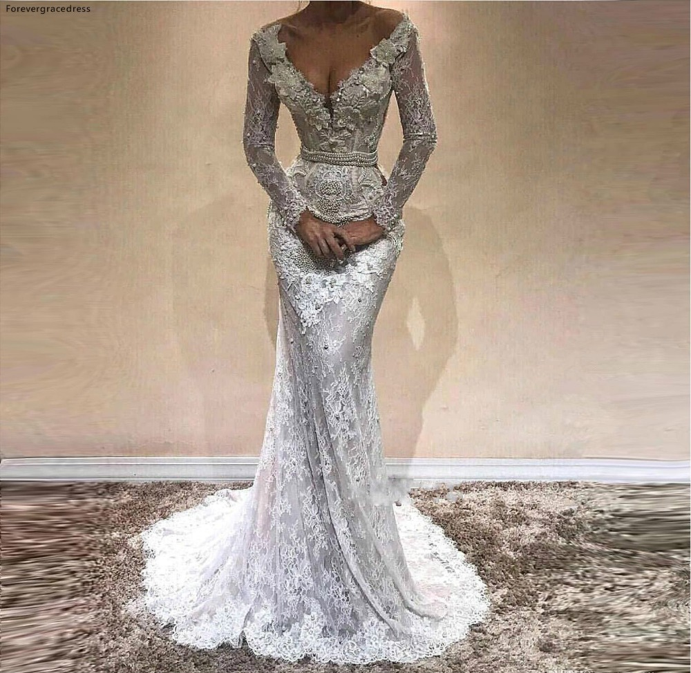 Mermaid   Prom     Dresses   African Black Girls Long Sleeves Lace Holidays Graduation Wear Evening Party Gowns Plus Size Custom Made