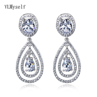 Large luxury Sterling silver earring elegant crystal waterdrop white jewelry women jewellery big 925 earrings