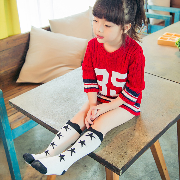 Cute Childrens Socks Cotton Baby Girl Socks High Knee Toddler Kids Boot Sock Cartoon Pattern Long Girls Sock In Tights Stockings From Mother Kids On