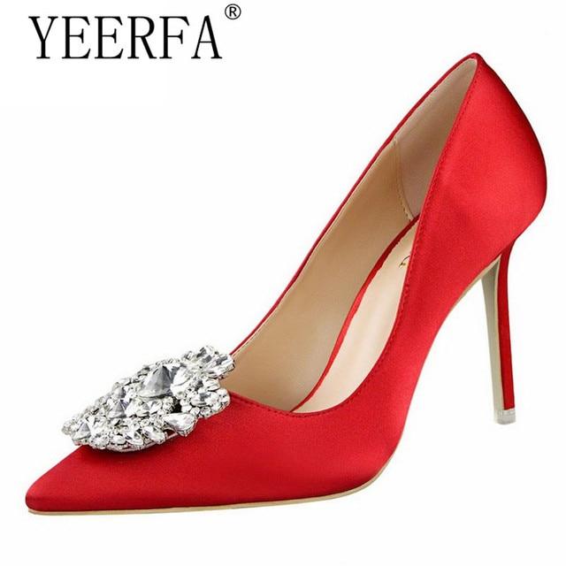YIERFA moda Zapatos de tacón alto Mujer bombas Rhinestones Red Mujeres  zapatos de tacón alto Sexy 5fce6a869449